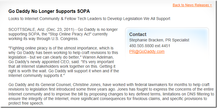 godaddy不再支持SOPA