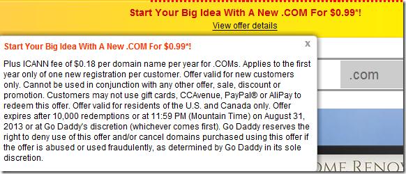 godaddy7月0.99美元域名优惠码2013 仅支持美、加用户