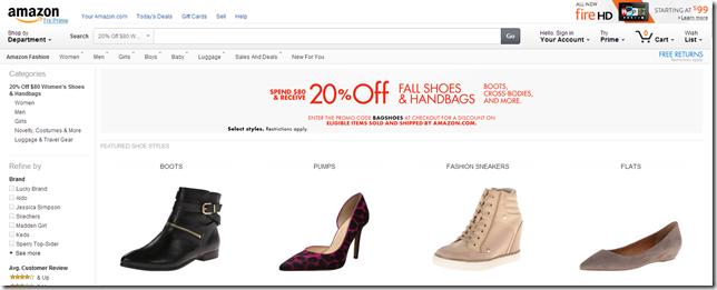 美国亚马逊10月手袋/女鞋8折优惠码2014