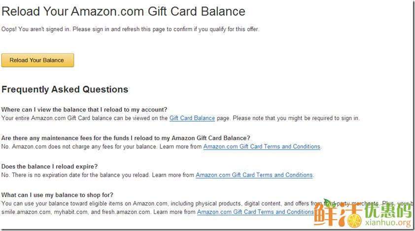 美国亚马逊充值100礼品卡送5美元抵用券活动